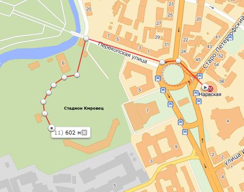 Карта проезда в зал СК Кировец